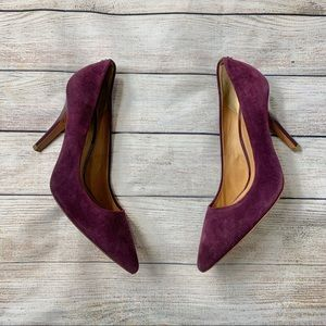 COACH | plum suede patent leather heels 8.5 zoee